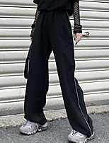cheap -Women's Sporty Outdoor Loose Daily Wide Leg Pants Pants Striped Full Length Luminous High Waist Black