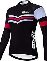 cheap -21Grams Men's Long Sleeve Cycling Jersey Winter Fleece Polyester Black Stripes Bike Jersey Top Mountain Bike MTB Road Bike Cycling UV Resistant Fleece Lining Breathable Sports Clothing Apparel / Warm