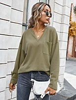 cheap -Women's Blouse Shirt Solid Colored Long Sleeve Pocket V Neck Tops Basic Basic Top White Yellow Army Green