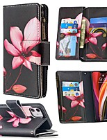 cheap -Case For Apple iPhone 12 / iPhone 12 Mini / iPhone 12 Pro Max Wallet / Card Holder / with Stand Full Body Cases Flower PU Leather