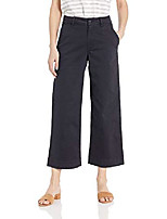 cheap -women's washed chino wide leg pant dark navy  14