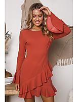 cheap -Women's Sheath Dress Short Mini Dress - Long Sleeve Solid Color Ruffle Patchwork Spring Fall Elegant Flare Cuff Sleeve 2020 Red S M L XL
