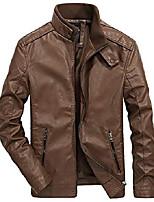 cheap -men's classic slim full-zip faux leather jacket windproof windbreaker (x-small, brown)