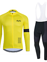 cheap -WECYCLE Men's Women's Long Sleeve Cycling Jersey with Bib Tights Cycling Jersey with Tights Winter Polyester Black / Yellow Black Black / White Solid Color Bike Clothing Suit Breathable 3D Pad Quick