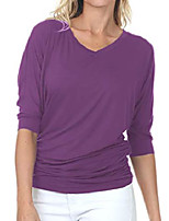cheap -7006 womens v-neck 3/4 sleeve drape dolman top with side shirring orchid 4xl
