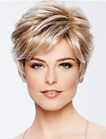 cheap -Synthetic Wig Curly Pixie Cut Asymmetrical Wig Blonde Short Blonde Black Synthetic Hair Women's Fashionable Design Exquisite Blonde Black