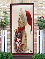 cheap -Christmas Puppy Self-adhesive Creative Door Stickers Living Room Diy Decoration Home Waterproof Wall Stickers