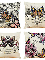 cheap -Set of 4 Artistic Butterfly Linen Square Decorative Throw Pillow Cases Sofa Cushion Covers 18x18