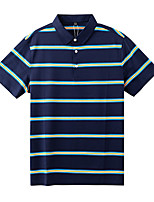 cheap -Men's Golf Polo Shirts Short Sleeve UV Sun Protection Breathable Quick Dry Sports Outdoor Autumn / Fall Spring Summer Cotton Stripes Dark Blue / Stretchy
