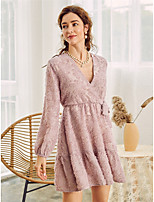 cheap -Women's A-Line Dress Short Mini Dress - Long Sleeve Polka Dot Solid Color Lace up Fall Winter V Neck Casual Elegant Lantern Sleeve 2020 Blushing Pink S M L