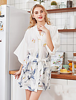 cheap -Women's Home Imitated Silk Loungewear Printing Belt Included Graphic M White