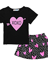 cheap -Toddler Girls' Basic Polka Dot Letter Print Short Sleeve Regular Regular Clothing Set Black
