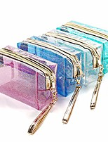 cheap -4pcs waterproof cosmetic bags pvc transparent zippered toiletry bag with handle strap portable clear makeup bag pouch for bathroom, vacation and organizing