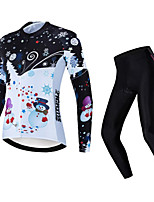 cheap -21Grams Women's Long Sleeve Cycling Jersey with Tights Winter Fleece White Bike Fleece Lining Warm Sports Graphic Mountain Bike MTB Road Bike Cycling Clothing Apparel / Stretchy / Athletic