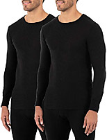 cheap -men's classic midweight waffle thermal underwear crew top (1 & 2 packs), sandstone, small