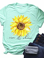 cheap -women's tops cute graphic letter print summer casual cotton t-shirt sunflower short sleeve round neck tees mint