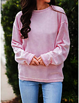 cheap -Women's T-shirt Solid Colored Long Sleeve Patchwork Round Neck Tops Loose Hawaiian Basic Top Blue Purple Blushing Pink