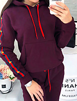 cheap -Women's Color Block Two Piece Set Hooded Sweatshirt Pant Tops