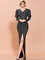 cheap -Sheath / Column Sexy bodycon Prom Formal Evening Dress V Neck Long Sleeve Floor Length Sequined with Sequin Split 2020