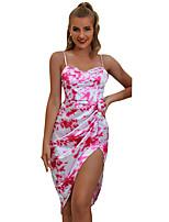 cheap -Women's A-Line Dress Short Mini Dress - Sleeveless Print Backless Split Patchwork Spring Summer Elegant Sexy 2020 Red S M L