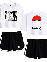 cheap -Inspired by Naruto Cosplay Akatsuki Uchiha Outfits T-shirt Pure Cotton Print Printing Shorts For Women's
