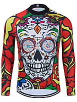 cheap -WECYCLE Men's Women's Long Sleeve Cycling Jersey Winter Polyester Red Skull Floral Botanical Bike Jersey Top Mountain Bike MTB Road Bike Cycling Breathable Quick Dry Reflective Strips Sports Clothing