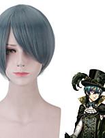 cheap -Black Butler Ciel Phantomhive Cosplay Wigs Men's Side bangs 12 inch Heat Resistant Fiber Straight Green Teen Adults' Anime Wig