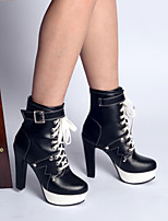 cheap -Women's Boots Pumps Pointed Toe Booties Ankle Boots Vintage Sexy Punk & Gothic Daily Walking Shoes Faux Leather Lace-up Solid Colored Black / Booties / Ankle Boots / Booties / Ankle Boots