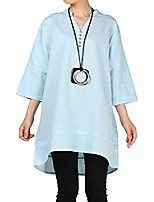 cheap -women's cotton linen blouse v-neck tunic tops 3/4 sleeve shirt clothing xl light blue