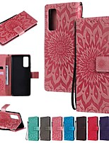 cheap -Case For Samsung Galaxy Galaxy S20 FE 5G / S20 Plus / S20 Ultra Wallet / Card Holder / with Stand Full Body Cases Solid Colored / Flower PU Leather