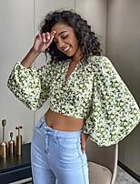 cheap -Women's Blouse Shirt Floral Flower Long Sleeve Print V Neck Tops Puff Sleeve Slim Chiffon Basic Basic Top Green / Crop