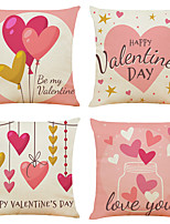 cheap -Set of 4 Happy Valentine's Day Linen Square Decorative Throw Pillow Cases Sofa Cushion Covers 18x18