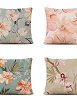 cheap -Cushion Cover 4PC Linen Soft Decorative Square Throw Pillow Cover Cushion Case Pillowcase for Sofa Bedroom 45 x 45 cm (18 x 18 Inch) Superior Quality Mashine Washable Pink Flowers Pattern