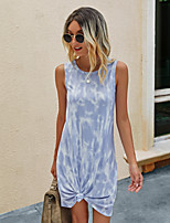 cheap -Women's T Shirt Dress Tee Dress Short Mini Dress - Sleeveless Tie Dye Print Summer Casual Slim 2020 Blue Purple Blushing Pink Green Navy Blue S M L XL