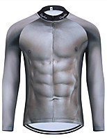 cheap -WECYCLE Men's Women's Long Sleeve Cycling Jersey Winter Grey 3D Bike Top Mountain Bike MTB Road Bike Cycling Breathable Sports Clothing Apparel / Stretchy / Athletic