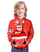 cheap -Kids Boys' Active Santa Claus 3D Graphic Christmas Print Long Sleeve Hoodie & Sweatshirt Red