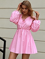 cheap -Women's A-Line Dress Short Mini Dress - Long Sleeve Solid Color Lace up Patchwork Fall Casual Puff Sleeve 2020 Blushing Pink S M L