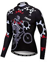 cheap -21Grams Men's Long Sleeve Cycling Jacket Winter Fleece Black Gear Bike Jacket Mountain Bike MTB Road Bike Cycling Fleece Lining Breathable Warm Sports Clothing Apparel / Stretchy