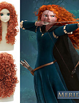 cheap -Brave Merida Cosplay Wigs Women's Slicked-Back 28 inch Synthetic Fiber Curly Orange Teen Anime Wig