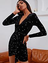 cheap -Women's Sheath Dress Short Mini Dress - Long Sleeve Polka Dot Solid Color Sequins Lace up Patchwork Summer Fall Elegant Sexy 2020 Black S M L