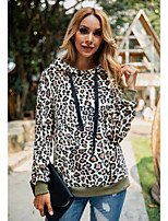 cheap -Women's Teddy Coat Long Leopard Sport Khaki Brown Gray S M L XL