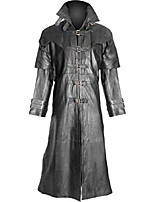 cheap -mens pure black cow leather trench coat steampunk gothic long leather duster coat