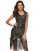cheap -Women's Sheath Dress Short Mini Dress - Long Sleeve Geometric Sequins Summer V Neck Elegant Party Slim 2020 Black S M L XL XXL