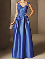 cheap -A-Line Elegant Beautiful Back Wedding Guest Formal Evening Dress V Neck Sleeveless Floor Length Lace Satin with Appliques 2020