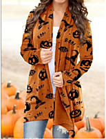 cheap -Women's Coat Long Geometric Daily Basic Print Red Orange Dark Gray S M L XL / Loose