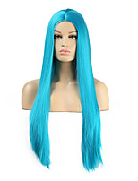 cheap -Cosplay Costume Wig Synthetic Wig Straight Natural Straight Middle Part Wig Royal Blue Synthetic Hair Women's Odor Free Fashionable Design Soft Blue