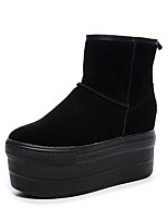 cheap -Women's Boots Snow Boots Hidden Heel Round Toe Booties Ankle Boots Casual Daily Walking Shoes Cowhide Solid Colored Black / Booties / Ankle Boots / Booties / Ankle Boots