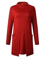 cheap -Women's Shift Dress Short Mini Dress - Long Sleeve Solid Color Pocket Spring Fall Casual Cotton 2020 Black Red Dusty Blue Gray M L XL