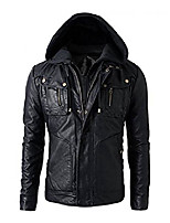 cheap -military grade men's motorcycle leather hoodie jacket with detachable hood, dark knight, small