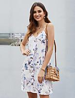 cheap -Women's Strap Dress Short Mini Dress - Sleeveless Print Patchwork Button Print Summer V Neck Vintage Holiday Slim 2020 White Black Blue Orange Brown Light Blue S M L XL